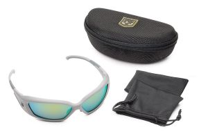 Revision Military Hellfly Ballistic Sunglasses Silver Frame With Ocean Mirror Lenses