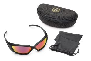 Revision Military Hellfly Ballistic Sunglasses Black Frame With Flame Mirror Lenses