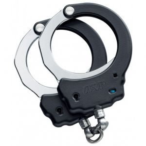 ASP Black Steel Handcuffs-Chain-2 Pawl (Blue - Security)