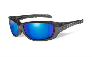 Wiley X Gravity Pol Blue Mirror Lens/Black Crystal Frame